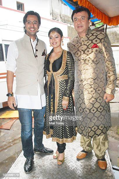 Salim Merchant Sunidhi Chauhan and Anu Mallik and on the sets of Indian Idol 4 in Mumbai on June 24 2010