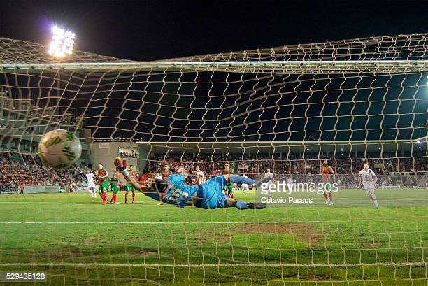 Salim of CS Maritimo Suffering a goal against SL Benfica during the Portuguese Primeira Liga at Estadio dos Barreiros on May 8, 2016 in Funchal,...