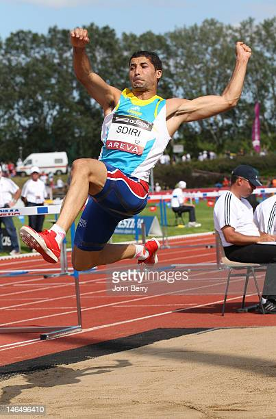 Salim Sdiri of France competes in the long jump final during the 2012 French Elite Athletics Championships at the Stade du Lac de Maine on June 17...