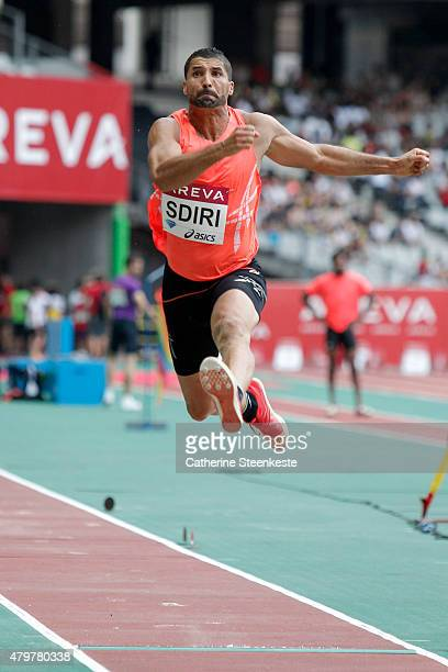 Salim Sdiri of France competes in the Men's Long Jump during the Meeting AREVA of the IAAF Diamond League 2015 at Stade de France on July 4 2015 in...