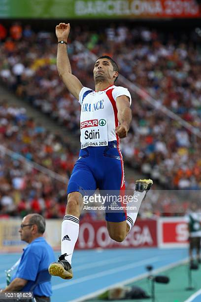 Salim Sdiri of France competes in the Mens Long Jump Final during day six of the 20th European Athletics Championships at the Olympic Stadium on...