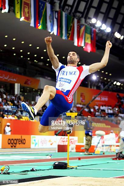 Salim Sdiri of France competes in the Mens Long Jump Final during Day 2 of the IAAF World Indoor Championships at the Aspire Dome on March 13 2010 in...