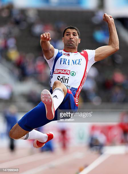 Salim Sdiri of France competes in the Men's Long Jump Qualification during day three of the 21st European Athletics Championships at the Olympic...