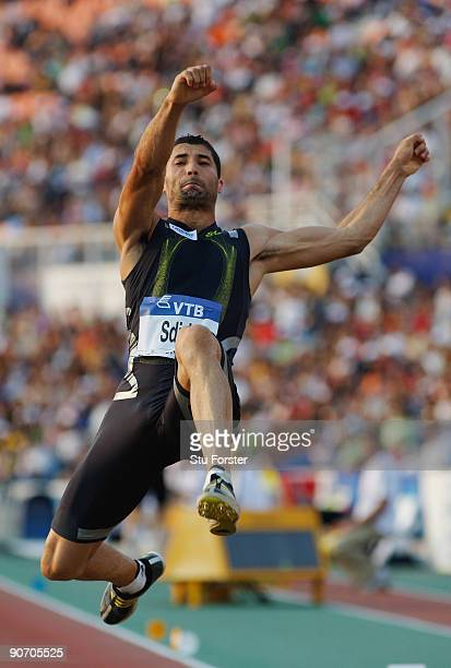 Salim Sdiri of France in action in the Mens Long Jump during day two of the IAAF World Athletics Final at the Kaftanzoglio stadium on September 13...