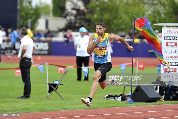 Salim Sdiri wins 1st place in the Longueur during the Championnats de France d'Athletisme Elite on July 13 2014 in Reims France