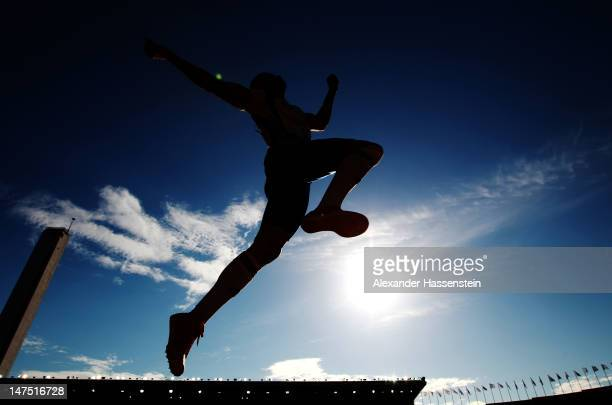 Salim Sidri of France competes in the Men's Long Jump Final during day five of the 21st European Athletics Championships at the Olympic Stadium on...