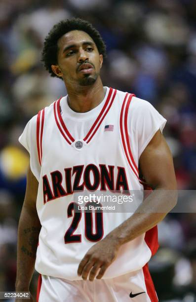 Salim Stoudamire of the Arizona Wildcats looks on against the Mississippi State Bulldogs on December 5 2004 at The Arrowhead Pond in Anaheim...