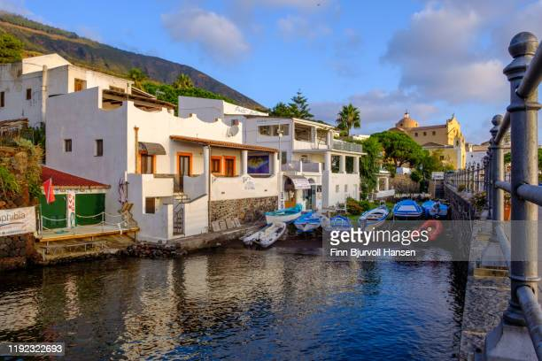 salina, italy - october 11, 2019 - the harbour of the aeolian island salina, boats safe in the lagoon - finn bjurvoll stock pictures, royalty-free photos & images
