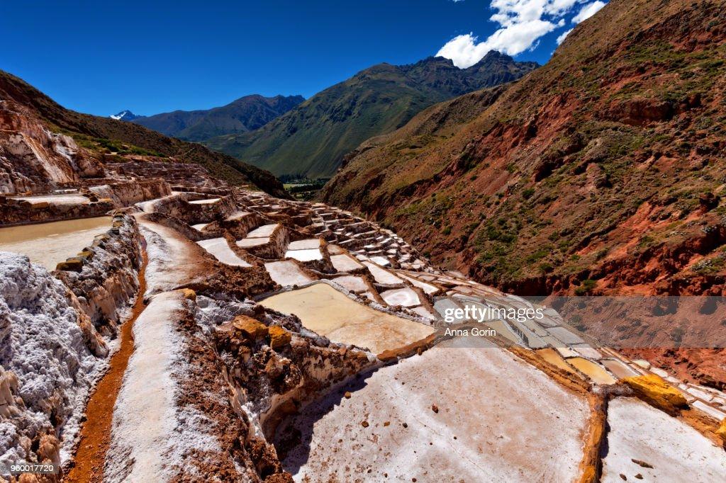Salinas de Maras salt evaporation ponds in Cusco region, Peru : Stock-Foto