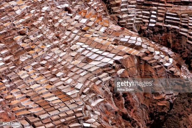 salinas de maras salt evaporation ponds viewed from surrounding hills in cusco region, peru - ソルトポンド ストックフォトと画像