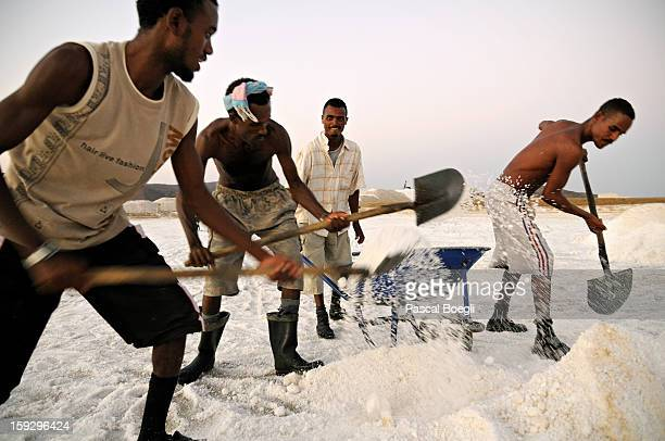 Salines of Afdera where workers start very early to avoid the terrific heat. The salt that comes from Afdera covers 65% of the country salt...