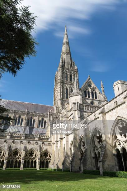 salisbury cathedral against sky, salisbury, england, uk - image stock pictures, royalty-free photos & images
