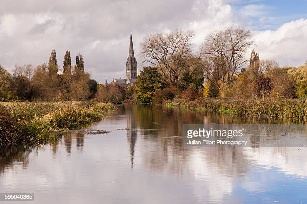 Salisbury cathedral and the River Avon, England.