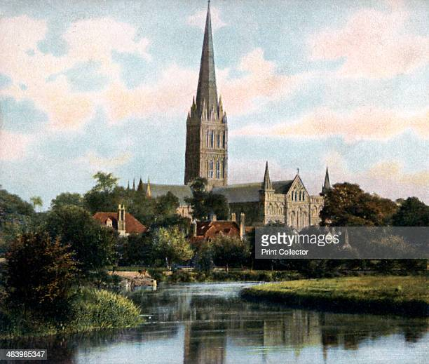 Salisbury Cathedral as seen from the River Avon Salisbury Wiltshire early 20th century