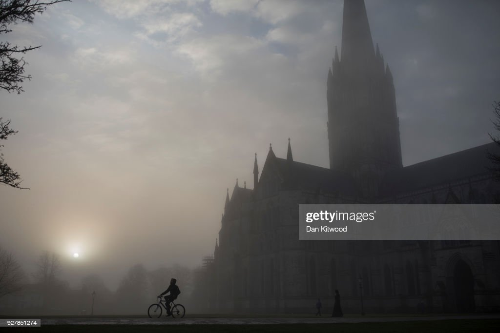 Salisbury Cathedral emerges from a morning fog in town centre, where a man and woman had been found unconscious two days previosly, on March 6, 2018 in Salisbury, England. The man is believed to be Sergei Skripal, 66, who was granted refuge in the UK following a 'spy swap' between the US and Russia in 2010. The couple remain critically ill after being exposed to an 'unknown substance'.