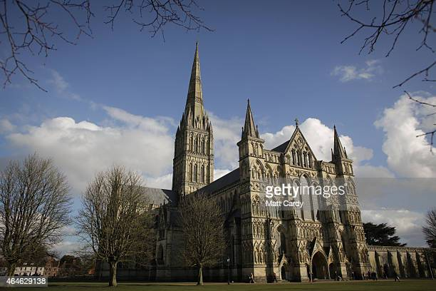 Salisbury Cathedral is seen on February 27 2015 in Salisbury England To celebrate the 800th anniversary of the historic charter Salisbury Cathedral...