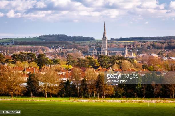 salisbury cathedral, salisbury, wiltshire, england - サリスベリー ストックフォトと画像