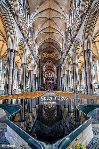 Salisbury, inside the cathedral. Baptismal font
