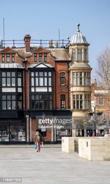 Salisbury Wiltshire England UK City center shops and cafes overlook the Market Square in the city center