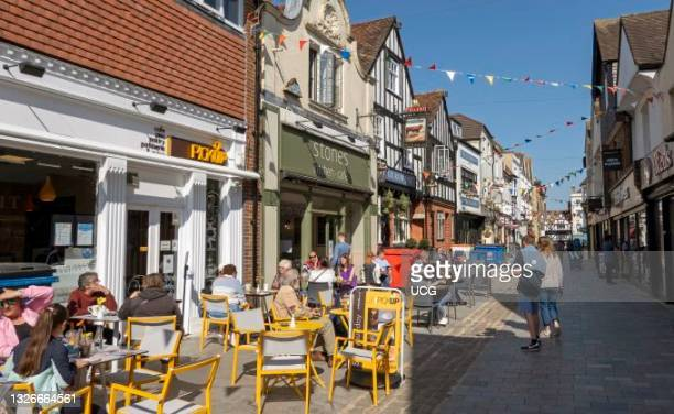 Salisbury, Wiltshire, England, UK, Pedestrian street in city center with outside drinking and eating just reopens as Covid restrictions end.