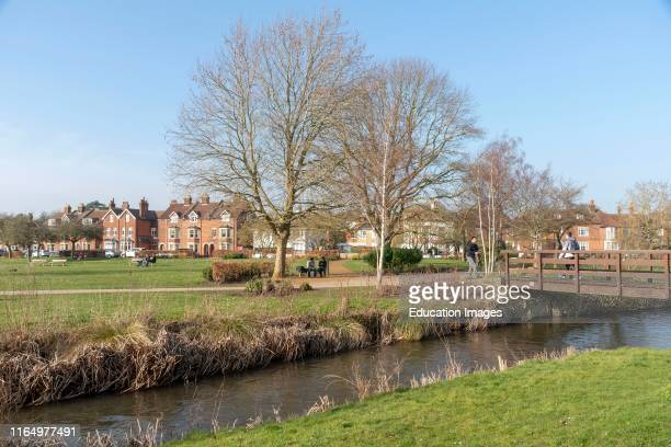 Salisbury Wiltshire England UK The Bishops Grounds and River Avon overlooked by parkland during winter