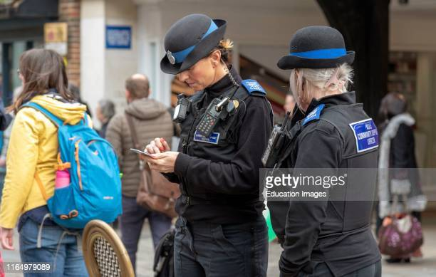 Salisbury Wiltshire UK Police community support officers on duty in the city center