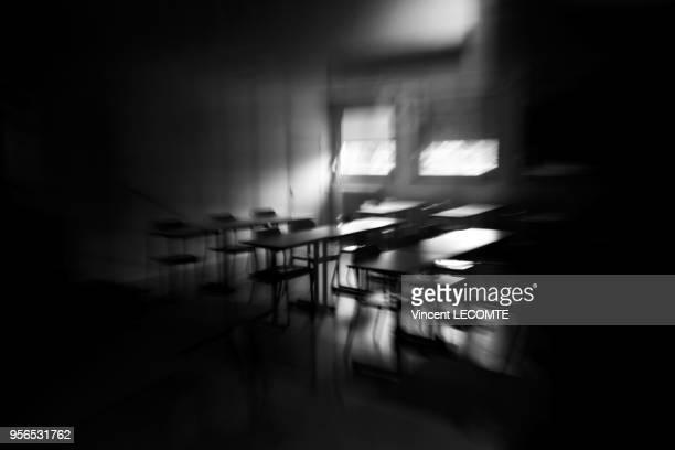 Salle de classe vide dans un lycée public en Picardie dans le nord de la France le 4 mai 2014