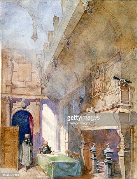 'SalleaManger Charterhouse' London 1913 Interior view of the dining room at Charterhouse with an ornate fireplace and two figures one seated