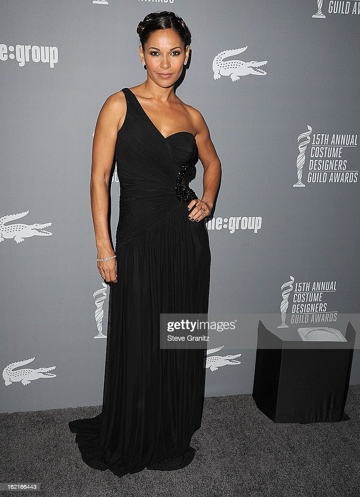 Salli Richardson-Whitfield arrive at the 15th Annual Costume Designers Guild Awards at The Beverly Hilton Hotel on February 19, 2013 in Beverly Hills, California.