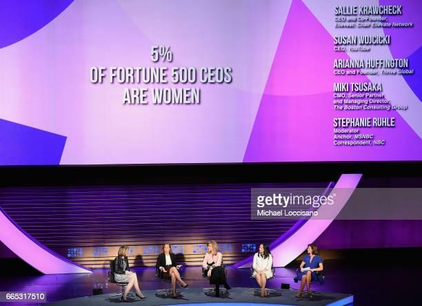 Sallie Krawcheck, Susan Wojcicki, Arianna Huffungton, Miki Tsusaka, and Stephanie Ruhle speak during the Eighth Annual Women In The World Summit at...