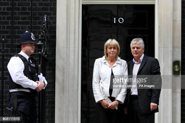Sally and Colin Knox the parents of murdered Harry Potter star Robert Knox outside 10 Downing Street before attending a knife crime summit with Prime...