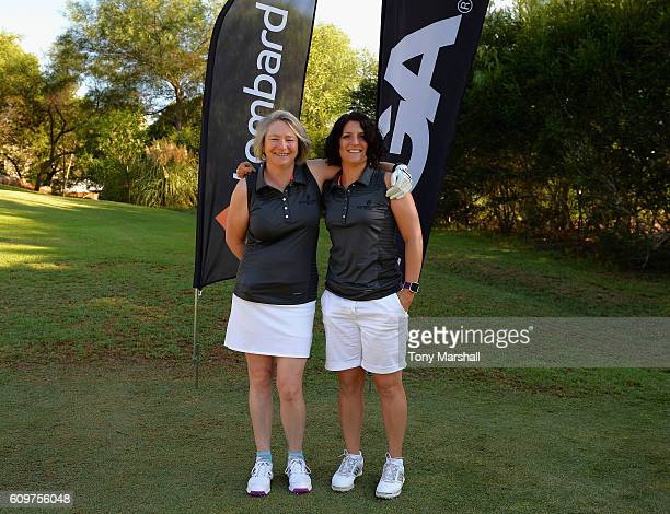 Sally Baxter and Deana Rushworth of Witney Lakes Golf Club on the 1st tee during the Lombard Trophy Final Day One at Pestana Vila Sol Golf Resort on...