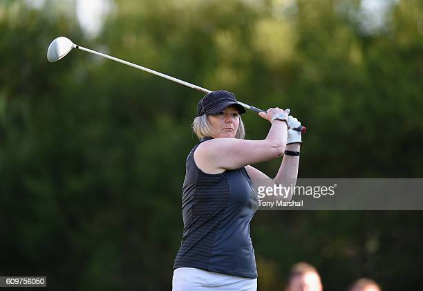 Sally Baxter of Witney Lakes Golf Club plays her first shot on the 1st tee during the Lombard Trophy Final Day One at Pestana Vila Sol Golf Resort on...