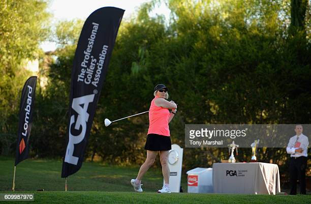 Sally Baxter of Witney Lakes Golf Club plays her first shot on the 1st tee during the WPGA Lombard Trophy Final Day Two at Pestana Vila Sol Golf Club...
