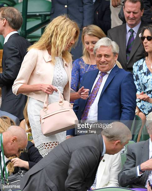 Sally Bercow and John Bercow attend day eleven of the Wimbledon Tennis Championships at Wimbledon on July 08 2016 in London England
