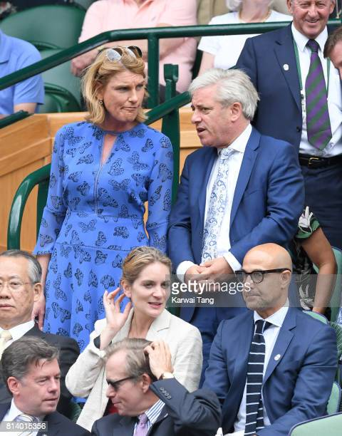 Sally Bercow and John Bercow attend day ten of the Wimbledon Tennis Championships at the All England Lawn Tennis and Croquet Club on July 13 2017 in...