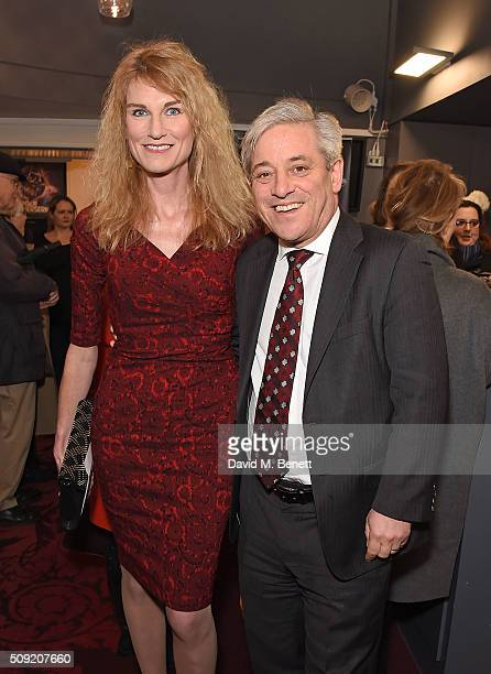 Sally Bercow and John Bercow attend the Press Night performance of Cirque Berserk at The Peacock Theatre on February 9 2016 in London England