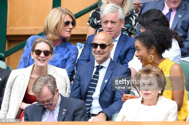 Sally Bercow and John Bercow Felicity Blunt Stanley Tucci and Sophie Okonedo attend day 11 of Wimbledon 2017 on July 13 2017 in London England