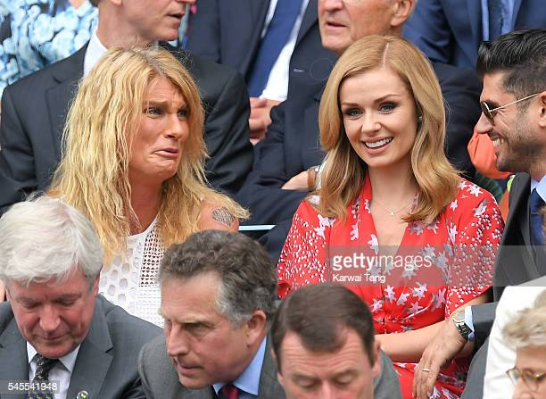 Sally Bercow and Katherine Jenkins attend day eleven of the Wimbledon Tennis Championships at Wimbledon on July 08 2016 in London England