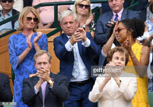 Sally Bercow John Bercow and Sophie Okonedo attend day 11 of Wimbledon 2017 on July 13 2017 in London England