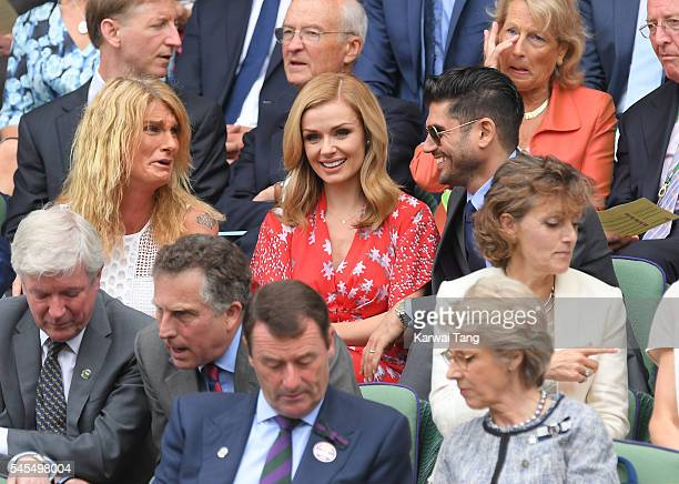 Sally Bercow Katherine Jenkins and Andrew Levitas attend day eleven of the Wimbledon Tennis Championships at Wimbledon on July 08 2016 in London...