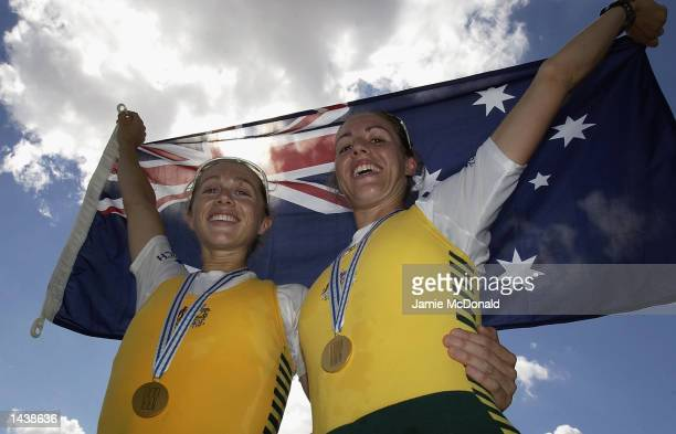 Sally Causby and Amber Halliday of Australia win gold in the Lightweight Double Sculls during the FISA World Rowing Championships held in Seville...