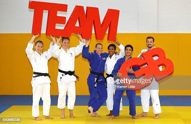 Sally Conway, Natalie Powell, Alice Schlesinger, Nekoda Smythe-Davis, Ashley McKenzie and Colin Oates of Great Britain pose for a picture during an...
