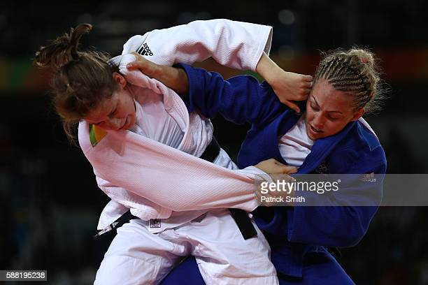 Sally Conway of Great Britain competes against Bernadette Graf of Austria during the Women's 70kg Bronze Medal A bout on Day 5 of the Rio 2016...