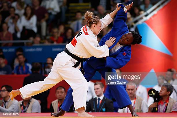 Sally Conway of Great Britain competes against Carine Ngarlemdana of Chad in the Women's 70 kg Judo on Day 5 of the London 2012 Olympic Games at...