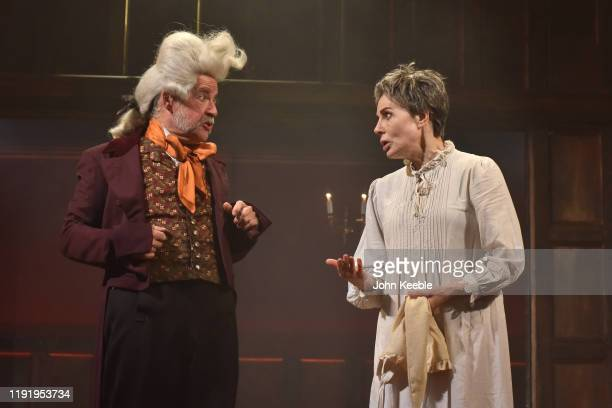 Sally Dexter performs during an onstage photocall for 'Christmas Carol - A Fairy Tale' by Piers Torday based on the story by Charles Dickens at...