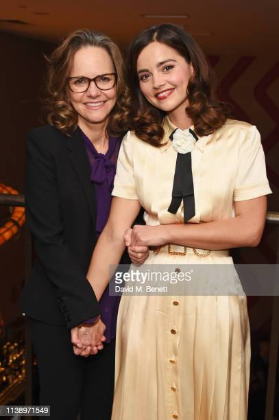 Sally Field and Jenna Coleman attend the press night after party for All My Sons at The Ham Yard Hotel on April 23 2019 in London England