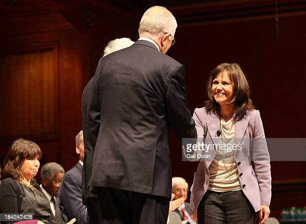 Sally Field attends the American Academy of Arts and Sciences Induction Ceremony 2013 at the Sanders Theatre at Harvard University on October 12 2013...