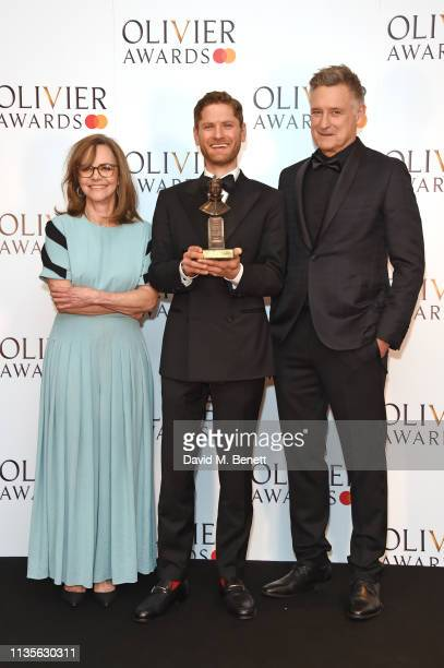 Sally Field Kyle Soller winner of the Best Actor award for The Inheritance and Bill Pullman pose in the press room at The Olivier Awards 2019 with...