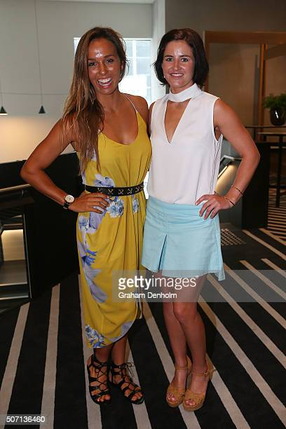 Sally Fitzgibbons and Michelle Payne pose at the Celebration of Inspirational Women brunch during day 11 of the 2016 Australian Open at Melbourne...